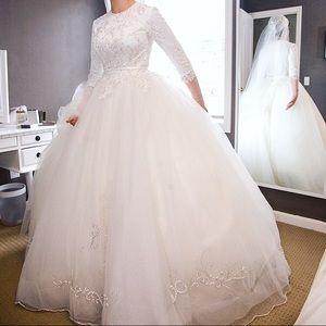 Modest wedding gown long sleeve ballgown